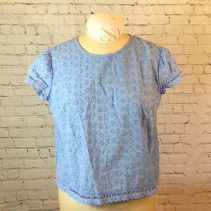 NWT Divided periwinkle crop. Buttons in the back!